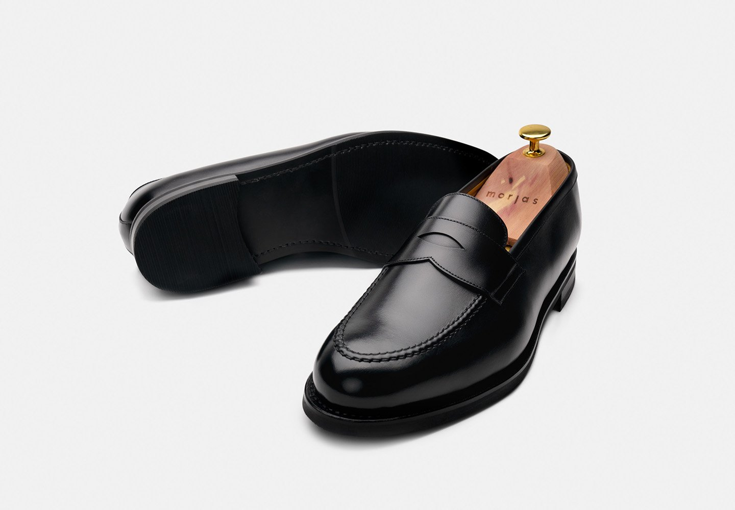 penny-loafer-black-calf-rubber-sole-morjas